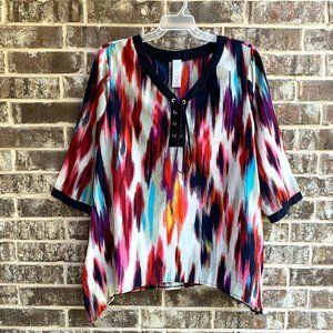 Womens Top Blouse Tunic Front Lace Up 3/4 Sleeves